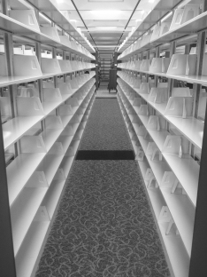 Empty book shelves