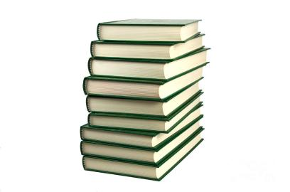 pile of green books